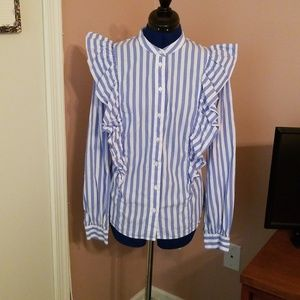 Who What Wear Tops - Who What Wear Blue White Stripe Ruffled Blouse